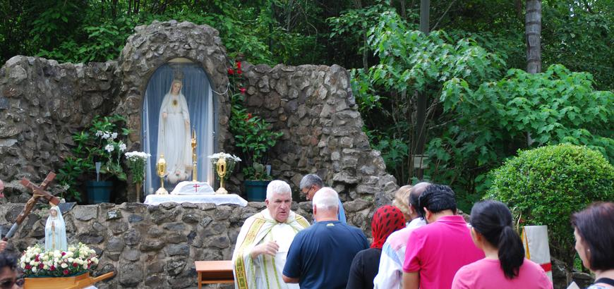 Blessings at the Fatima Grotto